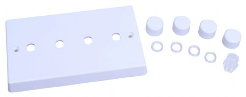 Varilight WQD4W White Plastic 4 Gang Dimmer Plate Only + Dimmer Knobs